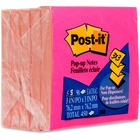 "Post-it® Pop-up Super Sticky Notes - 3"" x 3"" - Square - Yellow, Fuchsia - Self-adhesive - 5 / Pack"