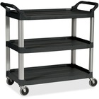 "Rubbermaid Commercial Economy Cart - 3 Shelf - 90.72 kg Capacity - 4 Casters - 4"" (101.60 mm) Caster Size - Plastic - x 33.6"" Width x 18.6"" Depth x 37.8"" Height - Black - 1 Each"