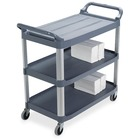 "Rubbermaid X-Tra Mobile Utility Cart - 3 Shelf - 136.08 kg Capacity - 4 Casters - 4"" (101.60 mm) Caster Size - Aluminum - x 37.8"" Width x 20"" Depth x 40.8"" Height - Gray - 1 Each"