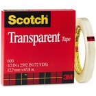 """3M Scotch Glossy Transparent Tape - 72.2 yd (66 m) Length x 0.47"""" (12 mm) Width - 3"""" Core - 1 Each - Clear"""