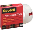 "3M Scotch Glossy Transparent Tape - 36 yd (32.9 m) Length x 0.75"" (19 mm) Width - 1"" Core - 1 Each"