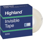 """3M Highland Permanent Invisible Transparent Tape - 36 yd (32.9 m) Length x 0.50"""" (12.7 mm) Width - 1"""" Core - Non-yellowing, Writable Surface - 1 Each - Clear"""