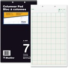 "Blueline Columnar Pad - 100 Sheet(s) - Gummed - 8 1/4"" x 14"" Sheet Size - 7 Columns per Sheet - White Sheet(s) - Black Cover - Recycled - 1 Each"
