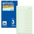 "Blueline Columnar Pad - 50 Sheet(s) - Gummed - 8 1/4"" x 14"" Sheet Size - 2 x Holes - 3 Columns per Sheet - Green Sheet(s) - Blue Cover - Recycled - 1 Each"