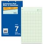 """Blueline Columnar Pad - 50 Sheet(s) - Gummed - 8 1/4"""" x 14"""" Sheet Size - 2 x Holes - 7 Columns per Sheet - Green Sheet(s) - Blue Cover - Recycled - 1 Each"""