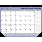 "Blueline Perforated Monthly Desk Pad Calendar - Monthly - January 2020 till December 2020 - 21 1/4"" x 16"" - Desk Pad, Wall Mountable - Bilingual, Notepad, Reference Calendar, Perforated, Tear-off, Non-refillable"