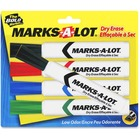 Avery® Marks-A-Lot Whiteboard Dry Erase Marker - Chisel Marker Point Style - Black, Red, Blue, Green - 5 / Set