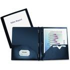 "Winnable Custom Presentation Report Cover - 10"" x 11 1/2"" Sheet Size - 3 Fastener(s) - 2 Pocket(s) - Dark Blue - 1 Each"