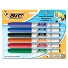 BIC Valleda Grip/Great Erase Whiteboard Marker - Fine Marker Point - Black, Blue, Red, Green Alcohol Based Ink - 6 / Pack