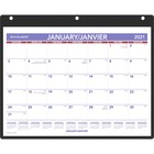 """At-A-Glance Monthly Desk and Wall Calender - Yes - Monthly - 1 Year - January 2021 till December 2021 - 1 Month Single Page Layout - 8 1/4"""" x 11"""" Sheet Size - Desk Pad, Wall Mountable - Black - Vinyl - Holder, Pocket, Refillable - 1 Each"""