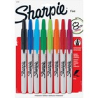 Sharpie Fine Point Retractable Markers - Fine Marker Point - Yes - Assorted - 8 / Set
