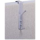 Safco Over-the-Panel Coat Hook - 2 Hooks - for Garment - Steel, Aluminum - 1 Each