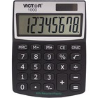 "Victor 1000 Mini Desktop Calculator - Large LCD, Battery Backup, Independent Memory, Plastic Key, Dual Power - 0.71"" (18 mm) - 8 Digits - LCD - Battery/Solar Powered - 0.5"" x 3.3"" x 4.3"" - Black - Plastic - 1 Each"