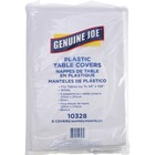 "Genuine Joe Plastic Rectangular Table Covers - 108"" (2743.20 mm) Length x 54"" (1371.60 mm) Width - Plastic - White - 6 / Pack"