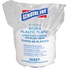 "Genuine Joe Reusable Plastic White Plates - 6"" (152.40 mm) Diameter Plate - Plastic - White - 125 Piece(s) / Pack"