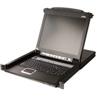 "Aten Slideaway CL5708 17"" LCD Console 8-Port Combo KVM with Peripheral Sharing Technology - 8 Computer(s) - 17"" Active Matrix TFT LCD - 8 x SPHD-15 Keyboard/Mouse/Video, 1 x Type A USB - 1U Height"