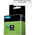 "Dymo White 2-Up File Folder Labels - 9/16"" Width x 3 7/16"" Length - Direct Thermal - White - 260 / Roll"
