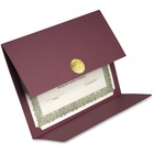 First Base 83533 Medallion Linen Certificate Holder - Linen - Burgundy - Recycled - 5 / Pack