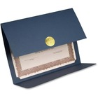 "St. James® Elite Medallion Fold Certificate Holder - Letter - 8 1/2"" x 11"" Sheet Size - Linen - Navy Blue - Recycled - 5 / Pack"
