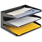 "MMF Horizontal Desk File Trays - 3 Tier(s) - 12.1"" Height x 12"" Width x 8.8"" Depth - Desktop - Recycled - Black - Steel - 1 / Each"