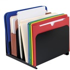 "MMF 5-Compartment Vertical Organizers - 5 Compartment(s) - 2"" (50.80 mm) - 8.1"" Height x 12"" Width x 11"" Depth - Desktop - Recycled - Black - Steel - 1Each"
