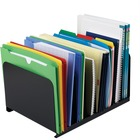 """MMF 8-Compartment Vertical Organizer - 8 Compartment(s) - 2"""" (50.80 mm) - 8.1"""" Height x 15"""" Width x 11"""" Depth - Desktop - Recycled - Black - Steel - 1Each"""