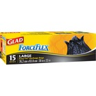 "Glad ForceFlex Easy-tie Garbage Bag - 100 L - 30"" (762 mm) Width x 33"" (838.20 mm) Depth - Black - 15/Pack"