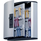 """DURABLE Predrilled Brushed Key Cabinet - 11.9"""" x 4.9"""" x 11"""" - Security Lock - Silver - Aluminum"""