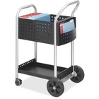 """Safco Scoot Mail Cart - 2 Shelf - 136.08 kg Capacity - 4 Casters - 3"""" (76.20 mm), 8"""" (203.20 mm) Caster Size - Steel - x 22"""" Width x 27"""" Depth x 40.5"""" Height - Black, Silver - 1 / Each"""