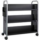 """Safco Scoot Double Sided Book Cart - 6 Shelf - 4 Casters - 3"""" (76.20 mm) Caster Size - Steel - x 41.3"""" Width x 17.8"""" Depth x 41.3"""" Height - Black, Silver - 1 / Each"""
