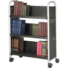"""Safco Scoot Single Sided Book Cart - 3 Shelf - 4 Casters - 3"""" (76.20 mm) Caster Size - Steel - x 33"""" Width x 14.3"""" Depth x 44.3"""" Height - Black, Silver - 1 / Each"""