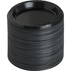 "Genuine Joe Round Plastic Black Plates - 6"" (152.40 mm) Diameter Plate - Plastic - Black - 125 Piece(s) / Pack"