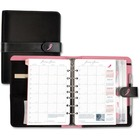 """Day-Timer Pink Ribbon Starter Set - Business - 1 Year - 8:00 AM to 5:00 PM - 1 Week Double Page Layout - 8 1/2"""" x 5 1/2"""" - Black - MicroFiber - Address Directory, Phone Directory, Notepad, Tabbed, Pen Loop, Pocket, Snap Closure"""