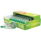 "Tombow Mini Mono Correction Tape Dispensers - 0.16"" (4.06 mm) Width x 19.7 ft Length - 1 Line(s) - White Tape - Ergonomic - Acid-free, Non-refillable - 10 / Pack - White"