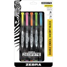 Zebra Pen Eco Double-ended Highlighter - Fine Marker Point - Chisel Marker Point Style - Fluorescent Green, Fluorescent Blue, Fluorescent Pink, Fluorescent Yellow, Fluorescent Orange - 5 / Set
