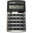 "Victor 907 Metric Conversion Calculator - 20 Functions - 10 Digits - Battery/Solar Powered - 0.4"" x 2.6"" x 4.5"" - Black, Silver - 1 / Each"