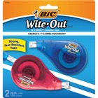 "Wite-Out EZ Correct Correction Tape - 0.17"" (4.20 mm) Width x 33.1 ft Length - 1 Line(s) - White Tape - Non-refillable - 2 / Pack - White"