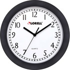 "Lorell 9"" Round Profile Wall Clock - Analog - Quartz - White Main Dial - Black/Plastic Case"
