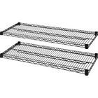 "Lorell Industrial Wire Shelving - 48"" x 24"" x 1.6"" - 2 x Shelf(ves) - 907.18 kg Load Capacity - Black - Steel"