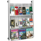 "Safco Luxe 9 Pocket Magazine Wall Rack - 9 x Magazine, 18 - 9 Pocket(s) - 9 Compartment(s) - 9 Divider(s) - 41"" Height x 31.8"" Width x 5"" Depth - Floor, Wall Mountable - Silver Frame - Acrylic, Aluminum - 1 / Each"