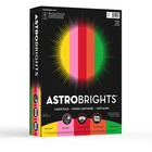"Astrobrights Colored Cardstock - ""Vintage"" 5-Color Assortment - Letter - 8 1/2"" x 11"" - 65 lb Basis Weight - 250 / Pack - Solar Yellow, Pulsar Pink, Re-entry Red, Orbit Orange, Gamma Green"