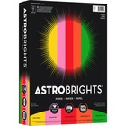 "Astrobrights Inkjet, Laser Printable Multipurpose Card - Letter - 8 1/2"" x 11"" - 24 lb Basis Weight - 500 / Ream - Solar Yellow, Pulsar Pink, Re-entry Red, Orbit Orange, Gamma Green"