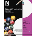 "Neenah Inkjet, Laser Printable Multipurpose Card - Letter - 8 1/2"" x 11"" - 65 lb Basis Weight - Smooth - 250 / Pack - Bright White"