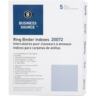 "Business Source 3-Ring 5-Tab Erasable Tab Indexes - 5 Write-on Tab(s)2"" Tab Width - 8.50"" Divider Width x 11"" Divider Length - Letter - 3 Hole Punched - White Divider - Mylar Tab(s) - 5 / Set"