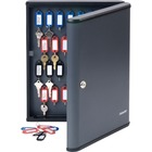 "Steelmaster Security Key Cabinet - 11.8"" x 2.4"" x 14.8"" - Key Lock - Charcoal - Steel - Recycled"