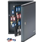 "Steelmaster Security Key Cabinet - 11.8"" x 4.3"" x 14.8"" - Key Lock - Charcoal - Steel - Recycled"