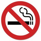 """Headline 9552 No Smoking Sign - 1 Each - 3"""" (76.20 mm) Width x 3"""" (76.20 mm) Height - Square Shape - Black, Red Print/Message Color - Self-adhesive - White"""