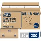"Tork Universal Singlefold Hand Towel - 9.1"" x 10.3"" - White - Fiber - Absorbent - 250 Quantity Per Pack - 4000 / Carton"