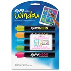 Expo Neon Window Neon Dry-erase Markers - Bullet Marker Point Style - Neon Yellow, Neon Blue, Neon Green, Neon Orange, Neon Pink - Assorted Barrel - 5 / Set