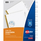 "Avery® Big Tab Insertable Dividers - Reinforced Gold Edge - 8 x Divider(s) - Print-on Tab(s) - 8 Tab(s)/Set11"" Divider Length - Letter - 3 Hole Punched - White Paper Divider - Clear Plastic Tab(s) - 8 / Set"